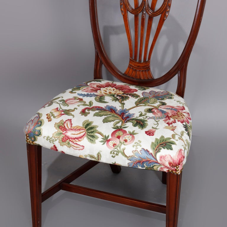 20th Century Set of Eight Vintage English Mahogany Shield Back Dining Chairs, circa 1930 For Sale