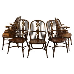 Set of Eight Vintage English Windsor Style Dining Arm Chairs, 20th Century