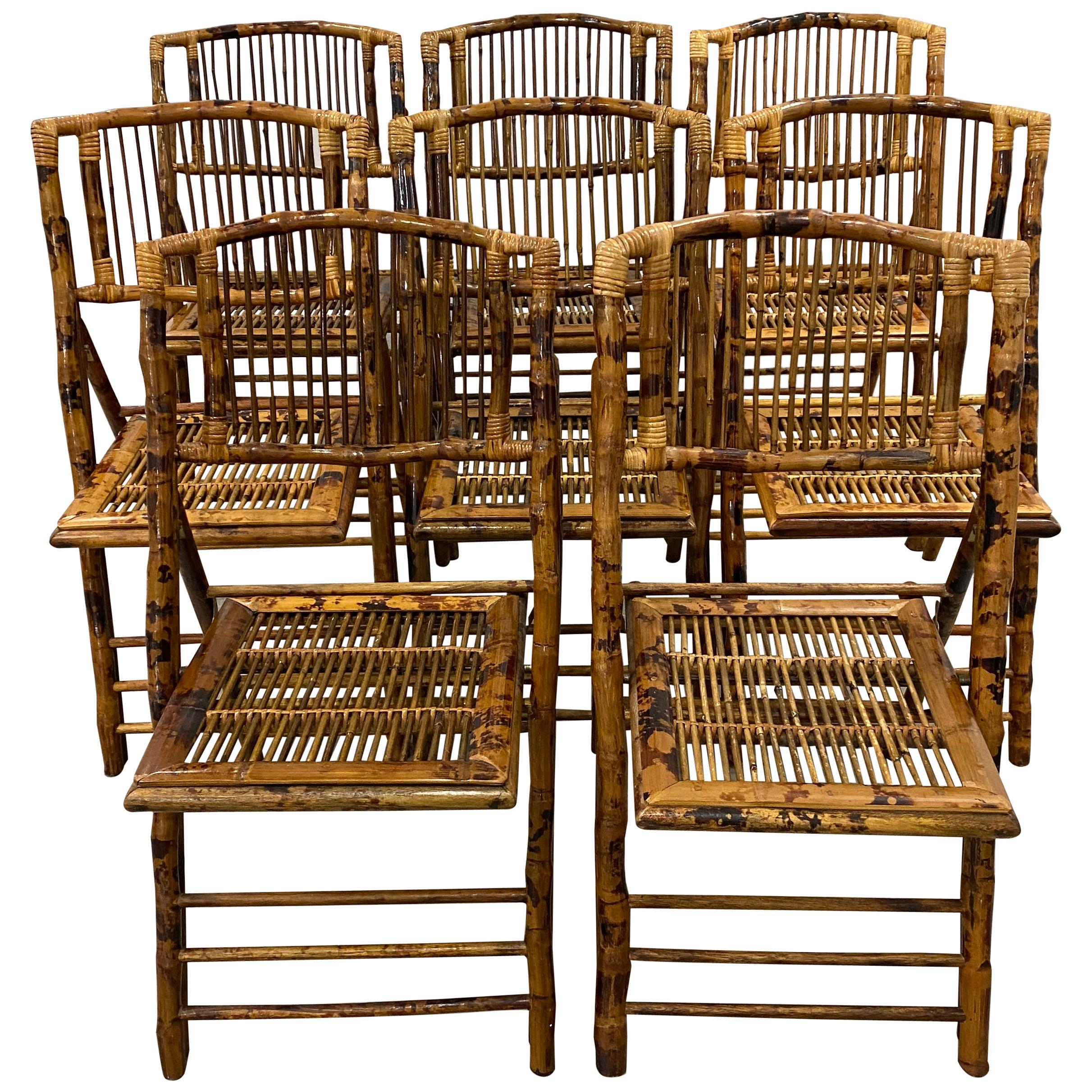Set of Eight Vintage Folding Bamboo Chairs