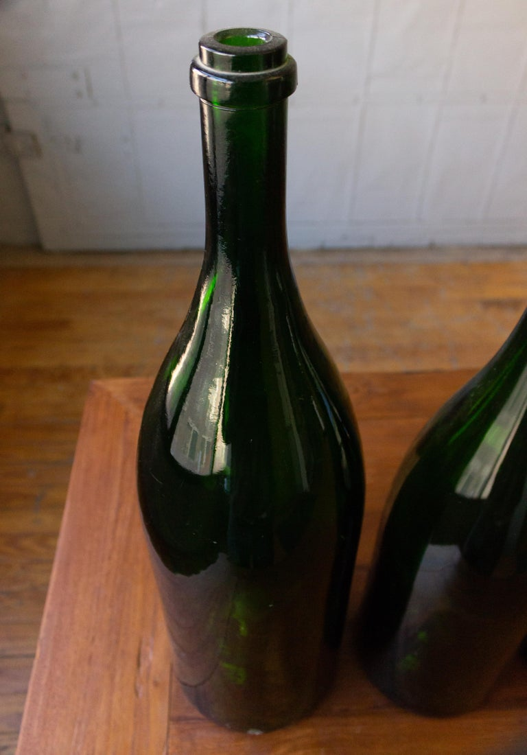 Set of Eight Vintage French Champagne Bottles For Sale 1