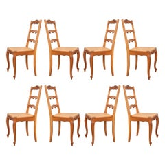 Set of Eight Vintage French Oak Dining Chairs