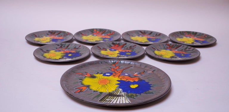Mid-Century Modern Set of Eight Vintage French Porcelain Enamel 'Floral' Cake Plates For Sale