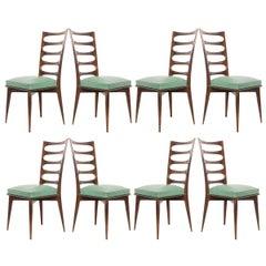 Set of Eight Vintage Gaston Poisson Mahogany Dining Chairs