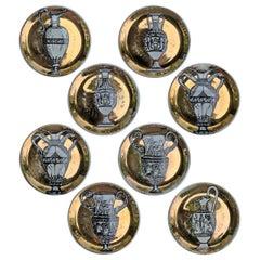 Set of Eight Vintage Italian Gilt Porcelain Coasters