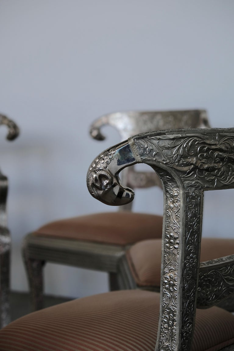 Set of Eight Vintage Rams Head Anglo-Indian Embossed Silver Metal Dining Chairs For Sale 4