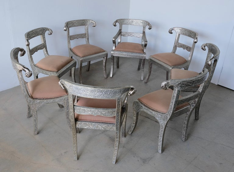 Set of Eight Vintage Rams Head Anglo-Indian Embossed Silver Metal Dining Chairs For Sale 12
