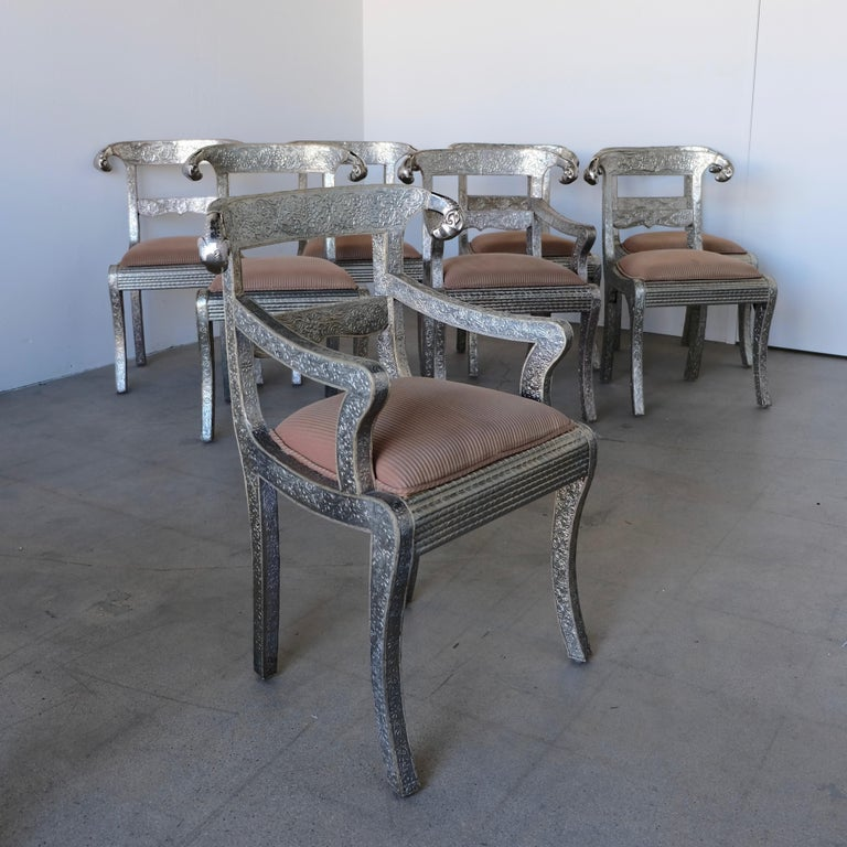 Repoussé Set of Eight Vintage Rams Head Anglo-Indian Embossed Silver Metal Dining Chairs For Sale