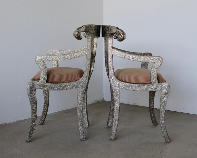 20th Century Set of Eight Vintage Rams Head Anglo-Indian Embossed Silver Metal Dining Chairs For Sale
