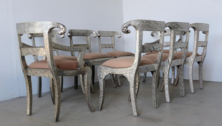 Upholstery Set of Eight Vintage Rams Head Anglo-Indian Embossed Silver Metal Dining Chairs For Sale