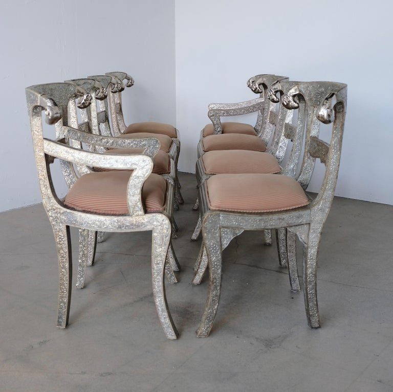 Set of Eight Vintage Rams Head Anglo-Indian Embossed Silver Metal Dining Chairs For Sale 1