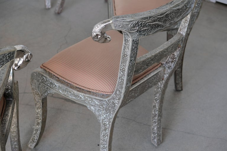 Set of Eight Vintage Rams Head Anglo-Indian Embossed Silver Metal Dining Chairs For Sale 2