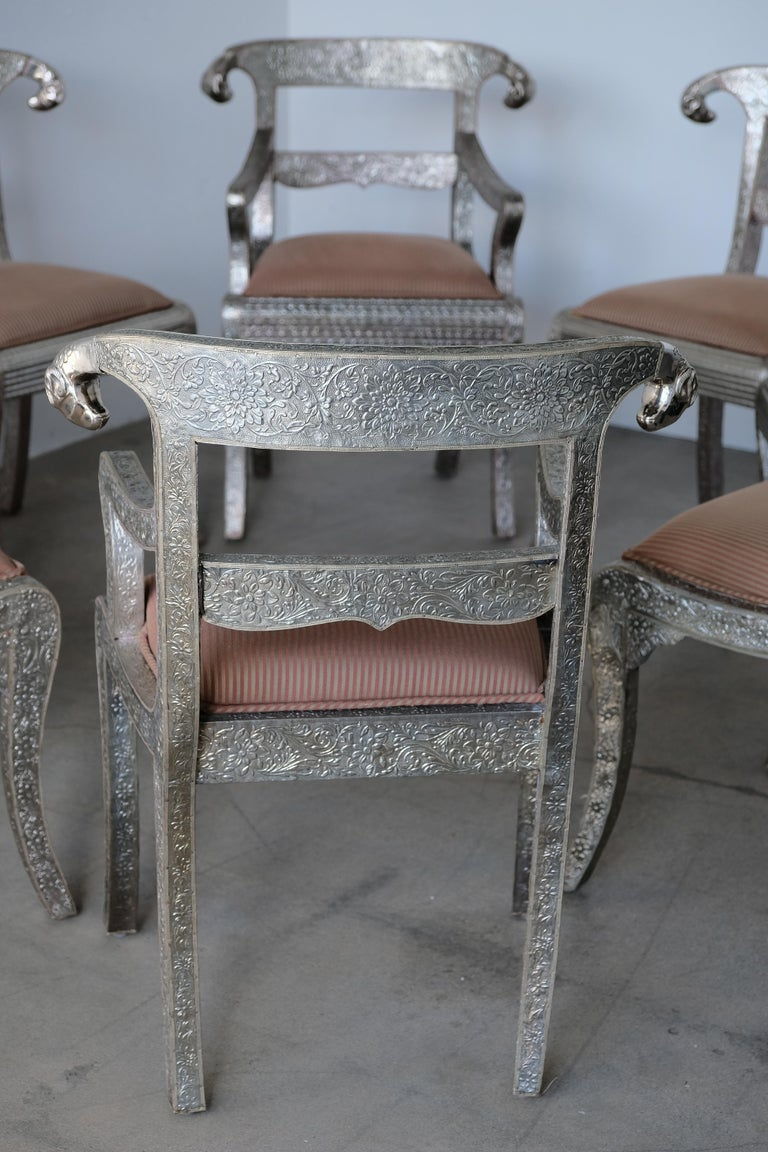 Set of Eight Vintage Rams Head Anglo-Indian Embossed Silver Metal Dining Chairs For Sale 3