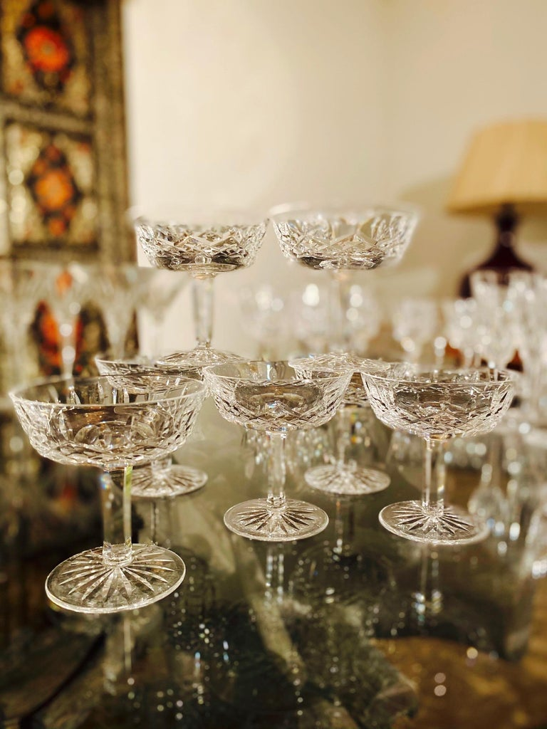 Regency Set of Eight Vintage Waterford Crystal Coupe Champagne Glasses, circa 1990s For Sale