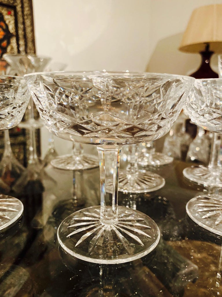 Set of Eight Vintage Waterford Crystal Coupe Champagne Glasses, circa 1990s In Excellent Condition For Sale In Miami, FL