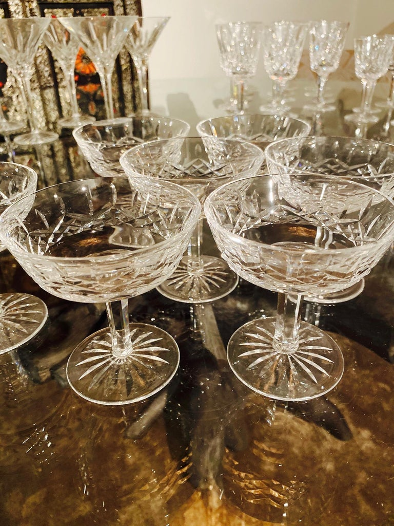 Late 20th Century Set of Eight Vintage Waterford Crystal Coupe Champagne Glasses, circa 1990s For Sale