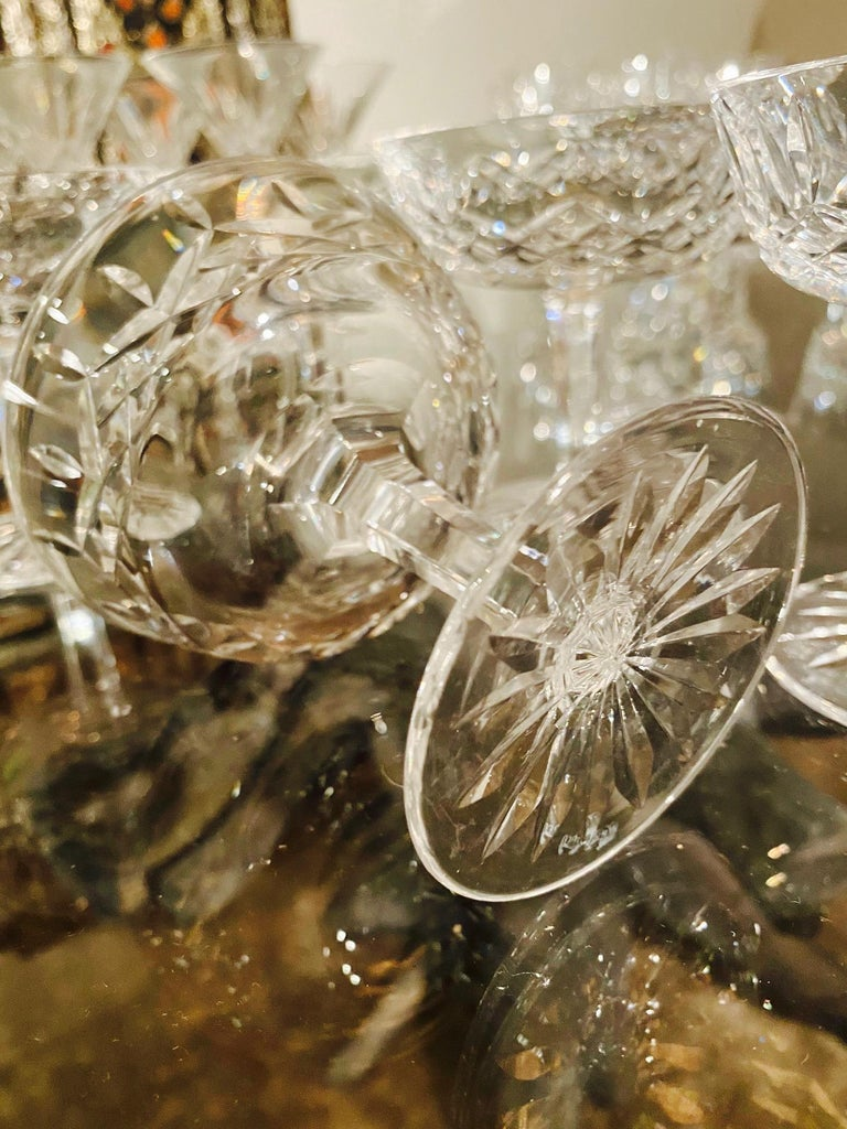 Set of Eight Vintage Waterford Crystal Coupe Champagne Glasses, circa 1990s For Sale 2