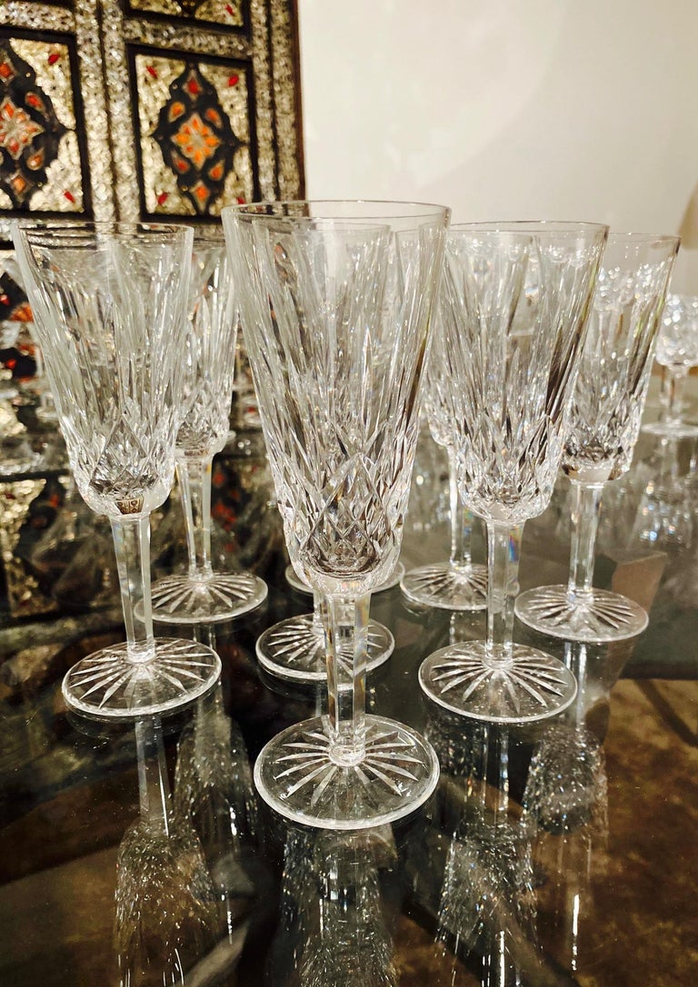 Regency Set of Eight Vintage Waterford Crystal Lismore Champagne Flutes, Germany For Sale