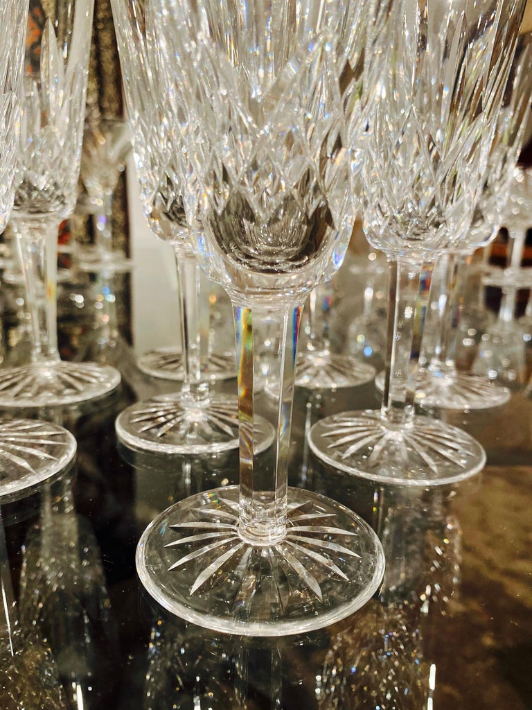 Set of Eight Vintage Waterford Crystal Lismore Champagne Flutes, Germany In Excellent Condition For Sale In Miami, FL