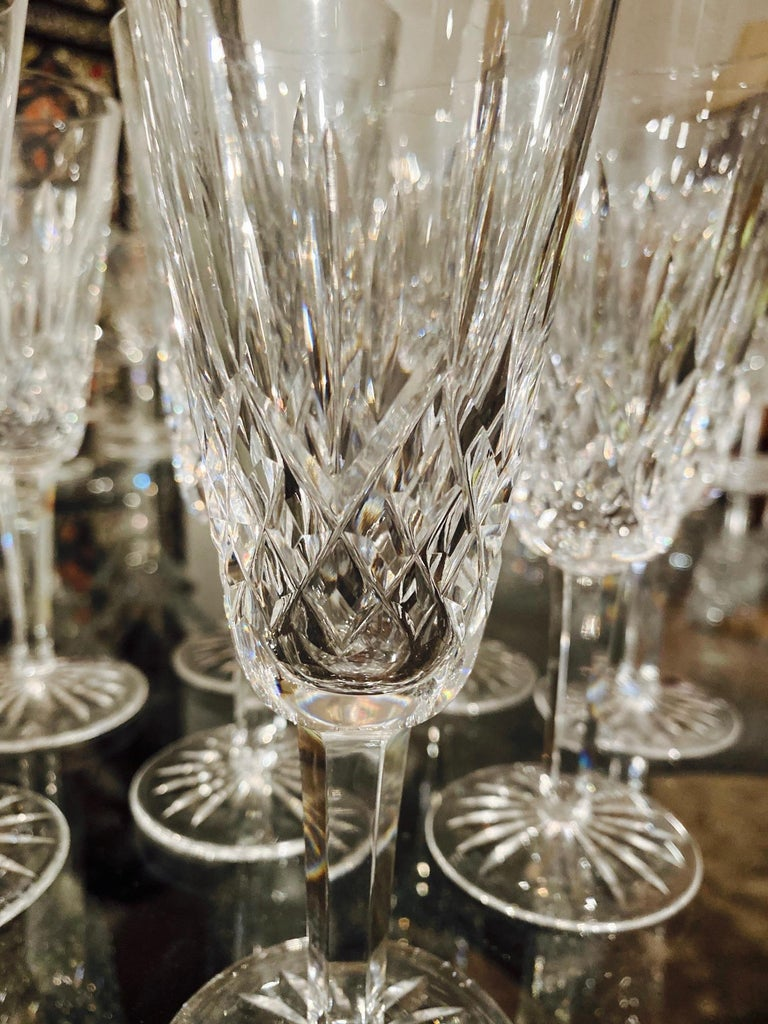Late 20th Century Set of Eight Vintage Waterford Crystal Lismore Champagne Flutes, Germany For Sale