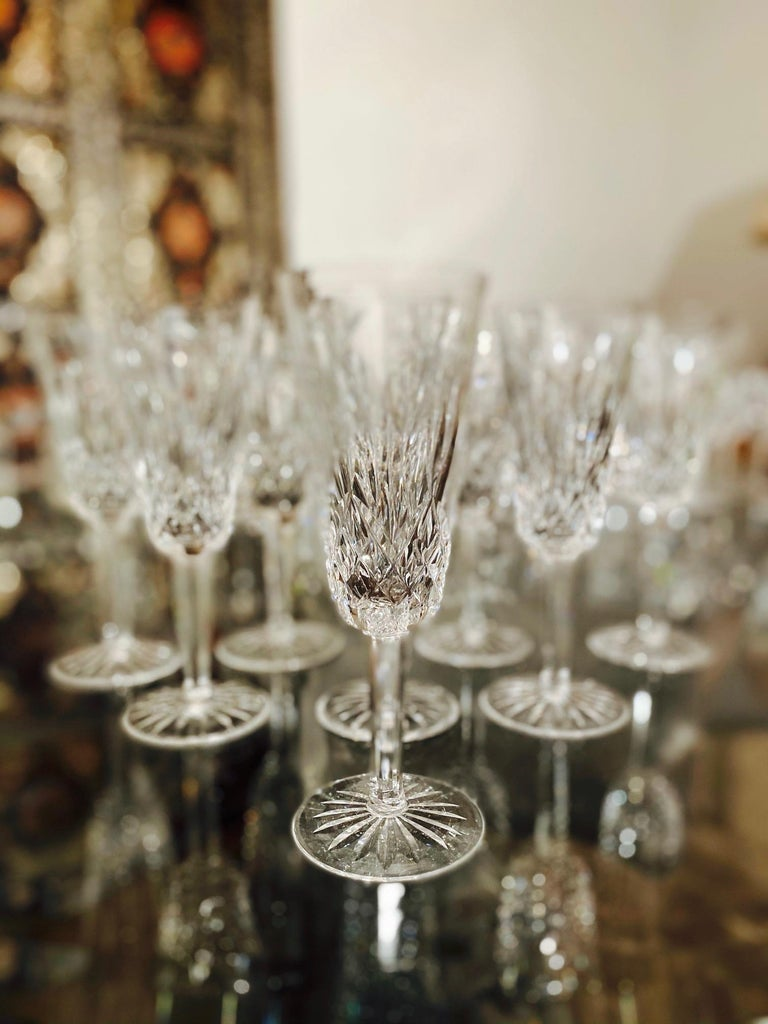 Set of Eight Vintage Waterford Crystal Lismore Champagne Flutes, Germany For Sale 2