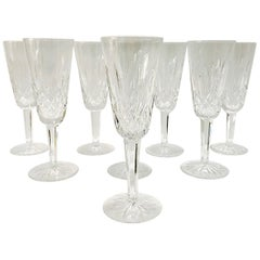 Set of Eight Vintage Waterford Crystal Lismore Champagne Flutes, Germany