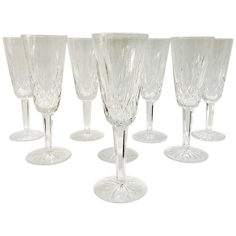 Set of Eight Vintage Waterford Crystal Lismore Champagne Flutes, Germany For Sale