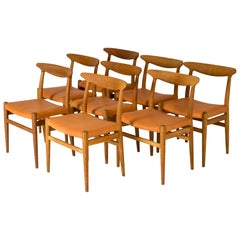 "Set of Eight ""W2"" Dining Chairs by Hans J. Wegner"