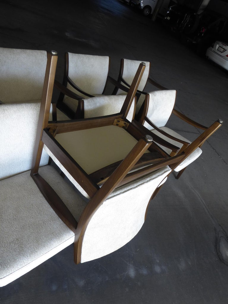 Set of Eight Walnut Dining Chairs by Johnson Chair Co. circa 1950s For Sale 4