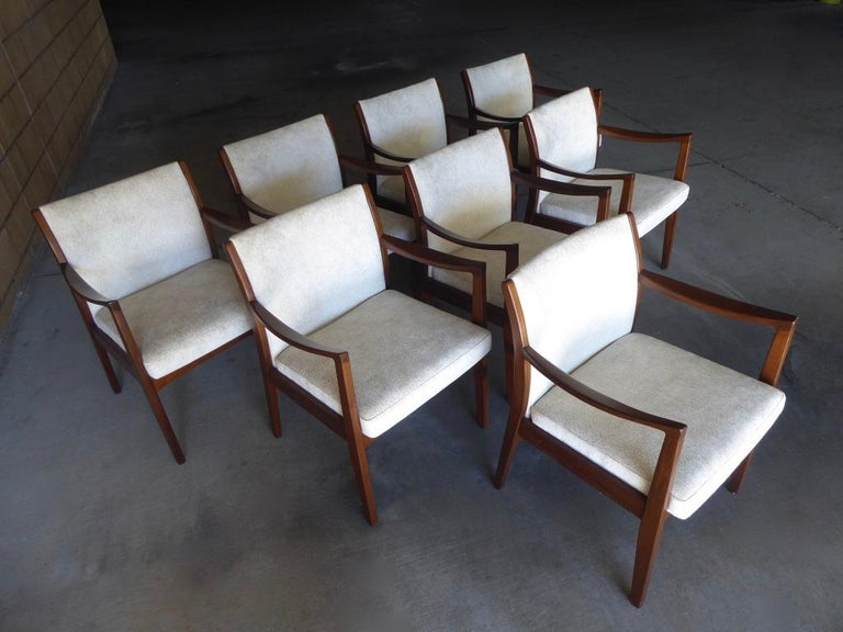 Set of Eight Walnut Dining Chairs by Johnson Chair Co. circa 1950s For Sale 9