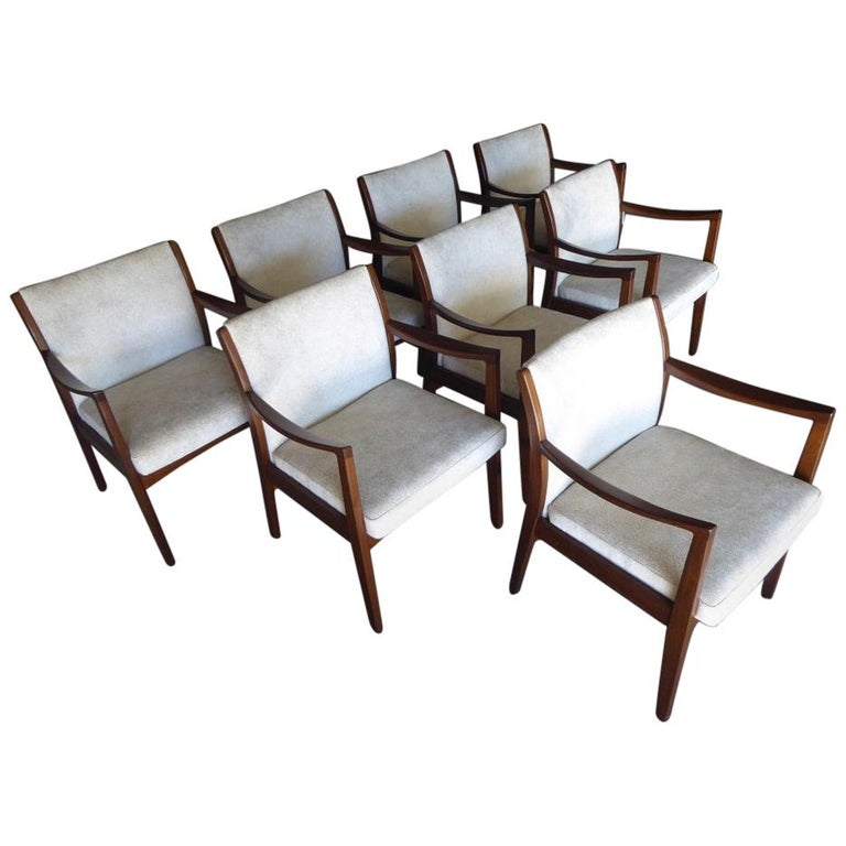 Set of Eight Walnut Dining Chairs by Johnson Chair Co. circa 1950s For Sale