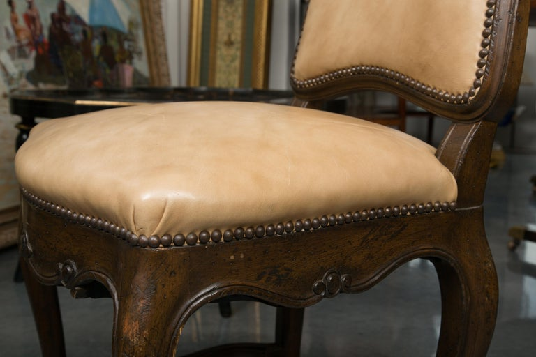 Set of Eight Walnut French Louis XV Style Upholstered Dining Side Chairs For Sale 5