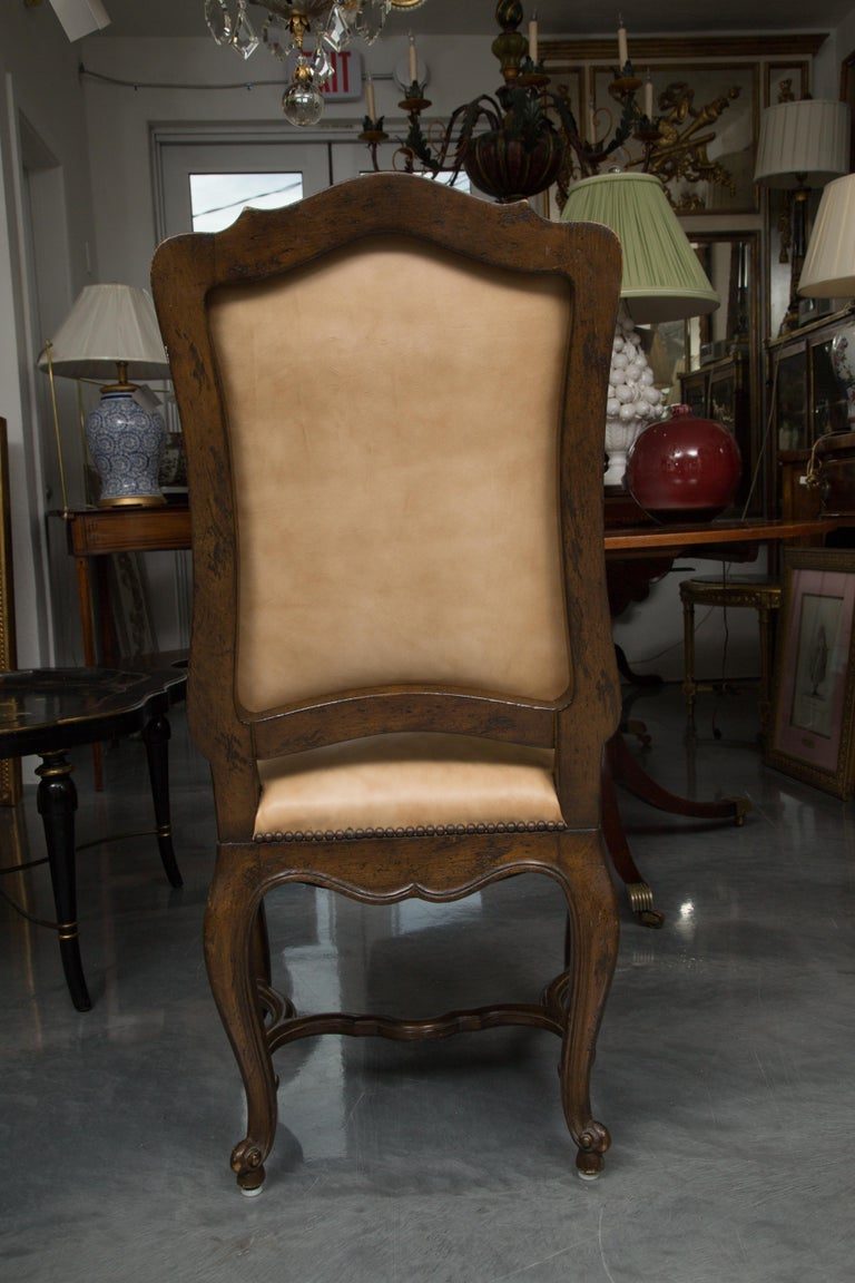 Set of Eight Walnut French Louis XV Style Upholstered Dining Side Chairs In Good Condition For Sale In WEST PALM BEACH, FL