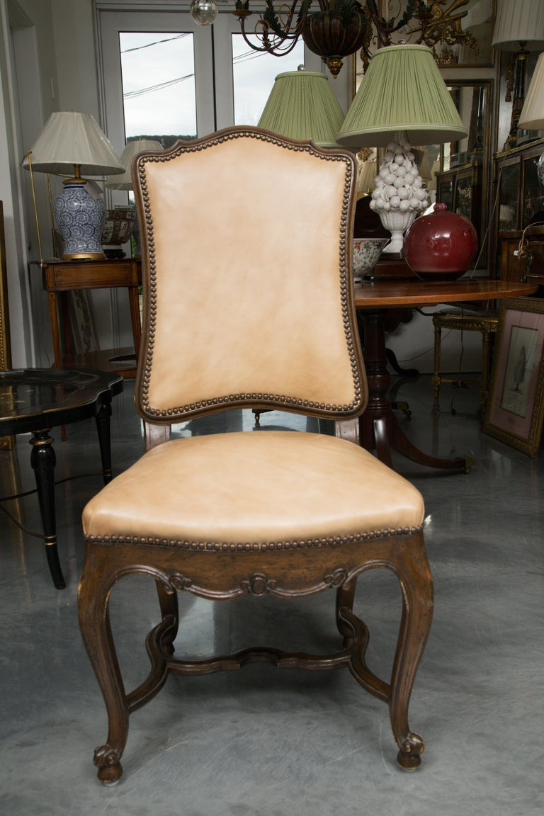 20th Century Set of Eight Walnut French Louis XV Style Upholstered Dining Side Chairs For Sale