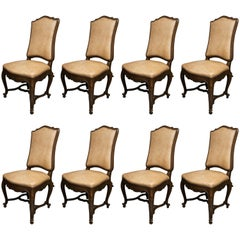 Set of Eight Walnut French Louis XV Style Upholstered Dining Side Chairs