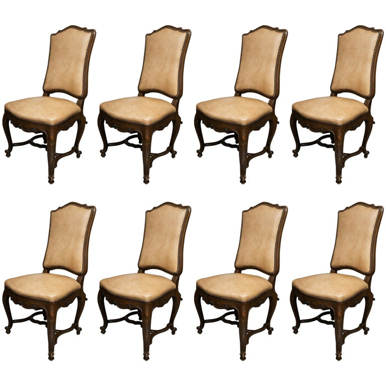 Set of Eight Walnut French Louis XV Style Upholstered Dining Side Chairs For Sale