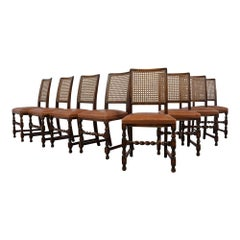 Set of Eight Walnut Jacobean Style Dining Chairs