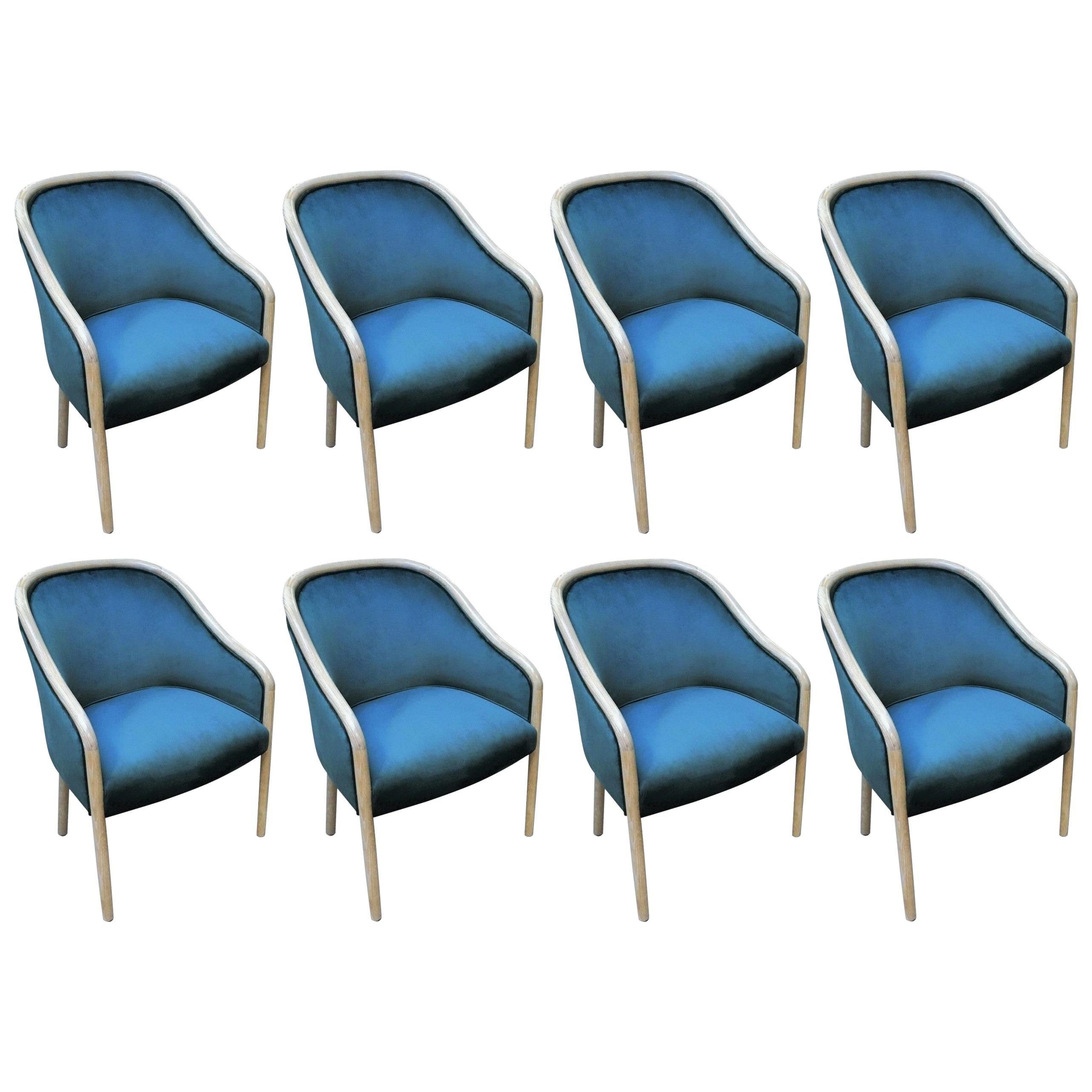 Set of Eight Ward Bennett for Brickell Associates Armchairs in Blue