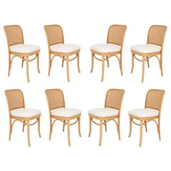 Set of Eight White Boucle Thonet Wood Rattan Chairs, 1960s