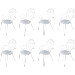 Set of Eight White Lacquered Wrought Iron and Outdoor Stackable Armchairs