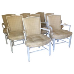 Set of Eight White Painted Upholstered Ladder Back Armchairs