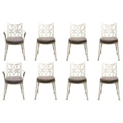 Set of Eight White Scroll Modern Outdoor / Patio Chairs