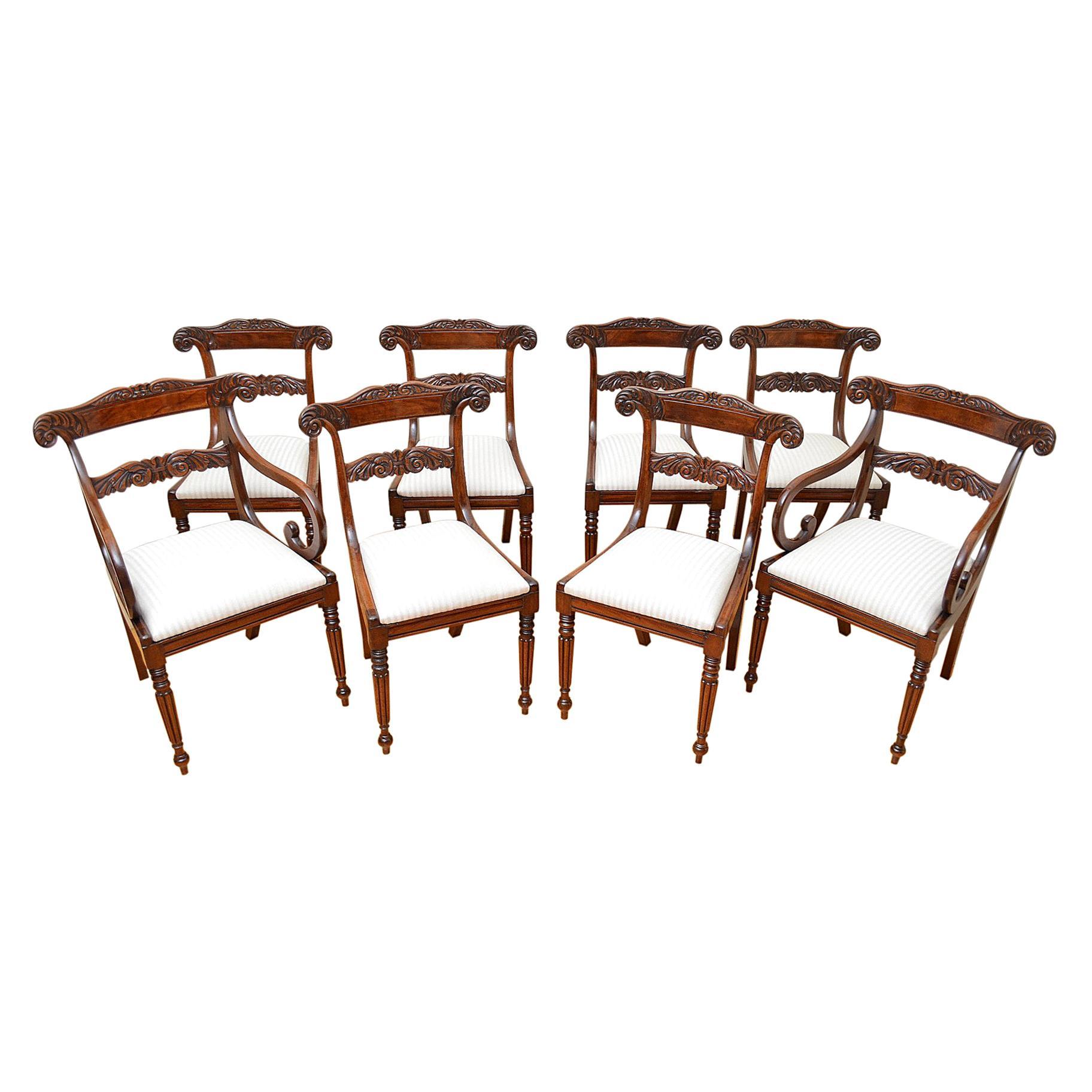 Set of Eight William IV Dining Mahogany Dining Chairs, circa 1830