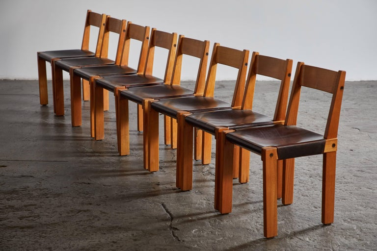 French Set of Eight Wood and Leather Dining Chairs by Pierre Chapo For Sale