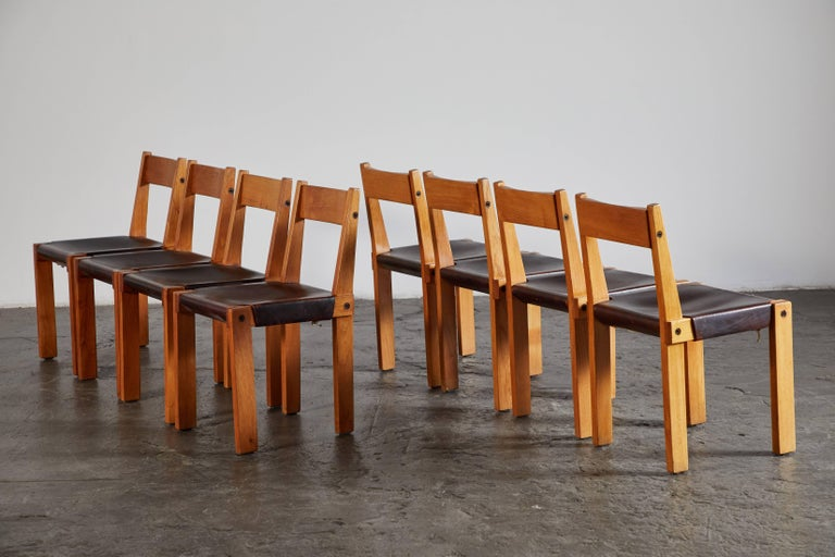 Set of Eight Wood and Leather Dining Chairs by Pierre Chapo In Excellent Condition For Sale In Los Angeles, CA
