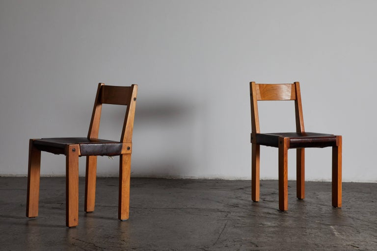 Set of Eight Wood and Leather Dining Chairs by Pierre Chapo For Sale 1
