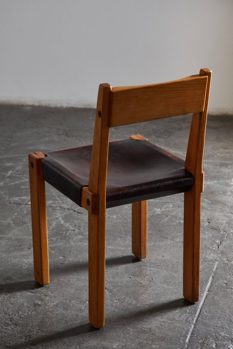 Set of Eight Wood and Leather Dining Chairs by Pierre Chapo For Sale 4