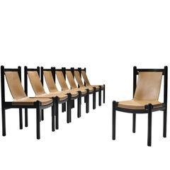 Set of Eight Wood and Leather Dining Chairs, 1950s
