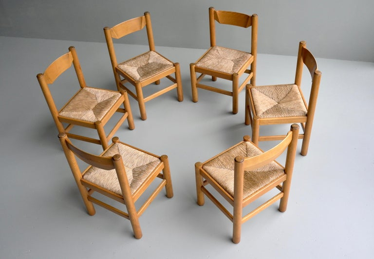 French Set of Eight Wood and Rush Chairs in Style of Charlotte Perriand, France, 1960 For Sale