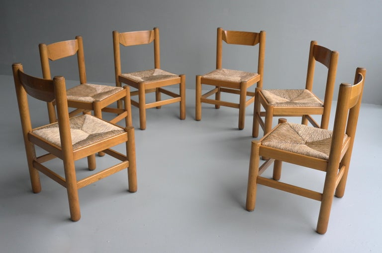 Set of Eight Wood and Rush Chairs in Style of Charlotte Perriand, France, 1960 For Sale 1