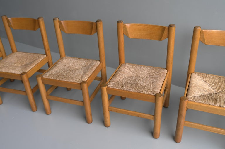 Set of Eight Wood and Rush Chairs in Style of Charlotte Perriand, France, 1960 For Sale 2